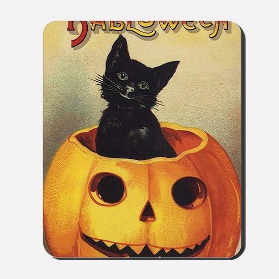 Vintage Halloween, Cute Black Cat Mousepad
