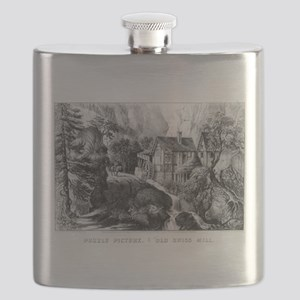 Old Swiss Mill - Puzzle Picture - 1872 Flask