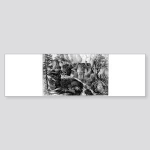 Old Swiss Mill - Puzzle Picture - 1872 Sticker (Bu