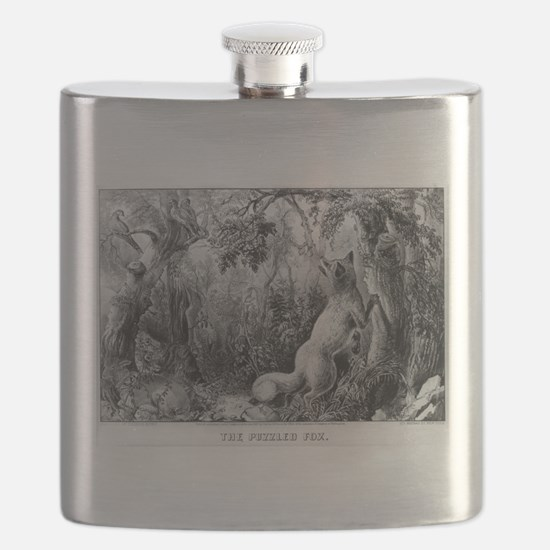 The puzzled fox - Puzzle Picture - 1872 Flask