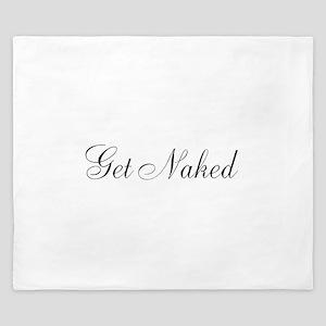 Get Naked Black Script King Duvet