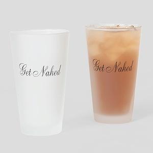 Get Naked Black Script Drinking Glass