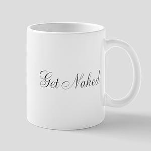 Get Naked Black Script Mug