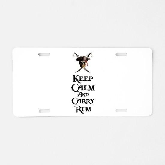 Keep Calm Carry Rum Aluminum License Plate
