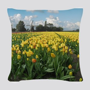 Dutch Windmill and Tulips Field Holland Pillow
