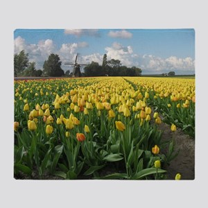 Dutch Windmill Yellow Tulips in Holland Blanket