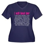 i will beat her 4 SQ pink white Plus Size T-Shirt