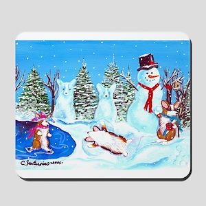 Snow Corgis II Mousepad