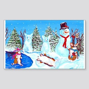 Snow Corgis II Rectangle Sticker