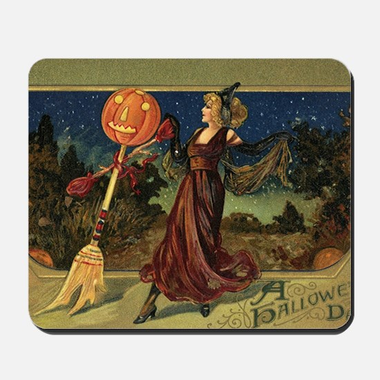 Vintage Halloween Dancing Witch Mousepad
