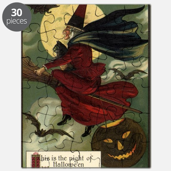 Vintage Halloween Flying Witch Puzzle