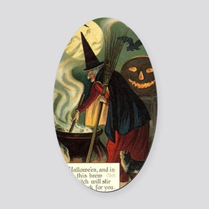 Vintage Halloween Witch with Cauld Oval Car Magnet