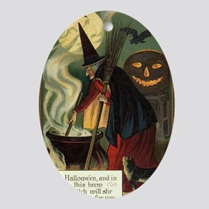 Vintage Halloween Witch with Cauldro Oval Ornament