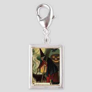 Vintage Halloween Witch with Silver Portrait Charm
