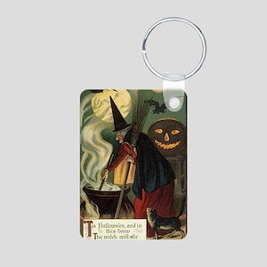Vintage Halloween Witch wi Aluminum Photo Keychain