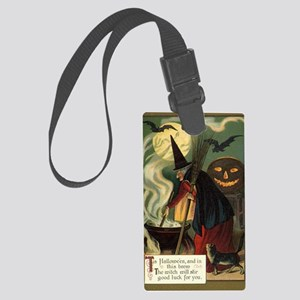 Vintage Halloween Witch with Cau Large Luggage Tag