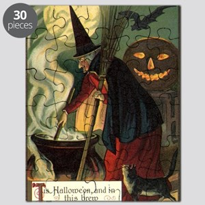 Vintage Halloween Witch with Cauldron Puzzle
