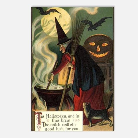 Vintage Halloween Witch w Postcards (Package of 8)