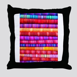 Colorful Fabric Pattern Throw Pillow