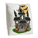 Halloween Haunted House Ghosts Burlap Throw Pillow