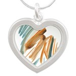 Abstract Nada Silver Heart Necklace