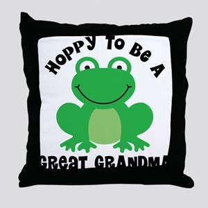 Hoppy to be a Great Grandma Throw Pillow