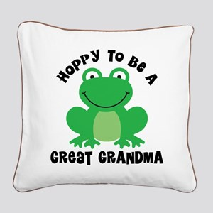 Hoppy to be a Great Grandma Square Canvas Pillow