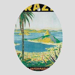 Brazil Travel Poster Ornament (Oval)