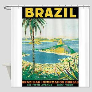Brazil Travel Poster Shower Curtain