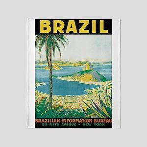 Brazil Travel Poster Throw Blanket