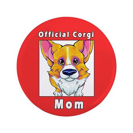 "corgi mom red white 3.5"" Button"
