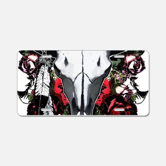 Buffalo skull and roses Aluminum License Plate