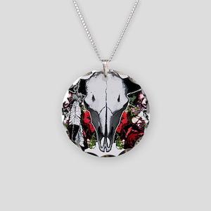 Buffalo skull and roses Necklace Circle Charm