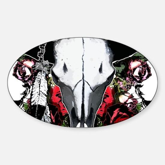 Buffalo skull and roses Sticker (Oval)