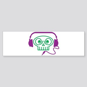 Headphone Skull Bumper Sticker