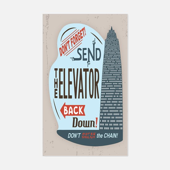 Elevator Back Down Sticker (Rectangle)