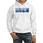 Chess Study in Blue Hooded Sweatshirt