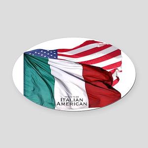Italian American Oval Car Magnet