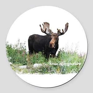 New Hampshire Moose Round Car Magnet