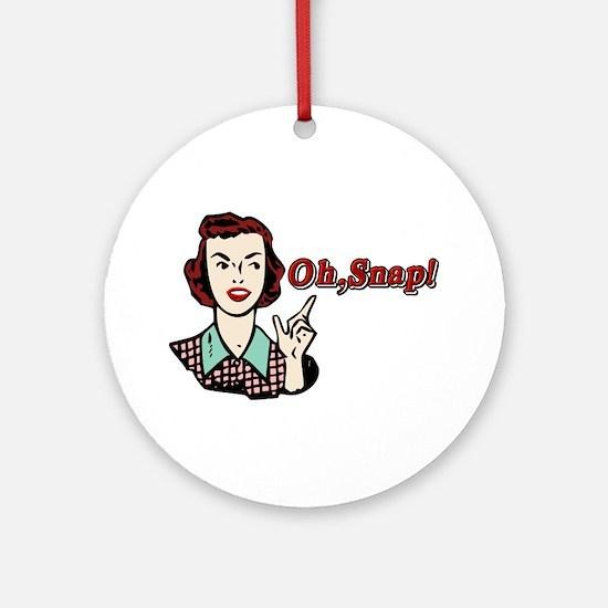 Oh Snap! Retro Chick Ornament (Round)