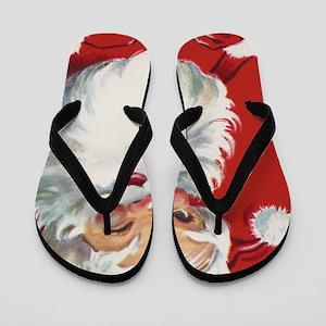 Vintage Christmas Jolly Santa Claus Flip Flops