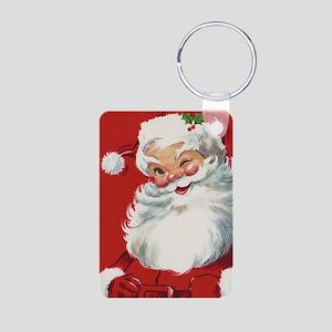 Vintage Christmas Jolly Sa Aluminum Photo Keychain
