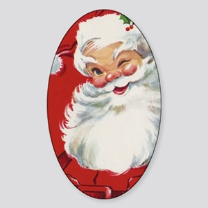 Vintage Christmas Jolly Santa Claus Sticker (Oval)