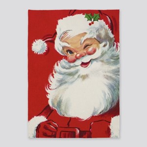Vintage Christmas Jolly Santa Claus 5'x7'Area Rug