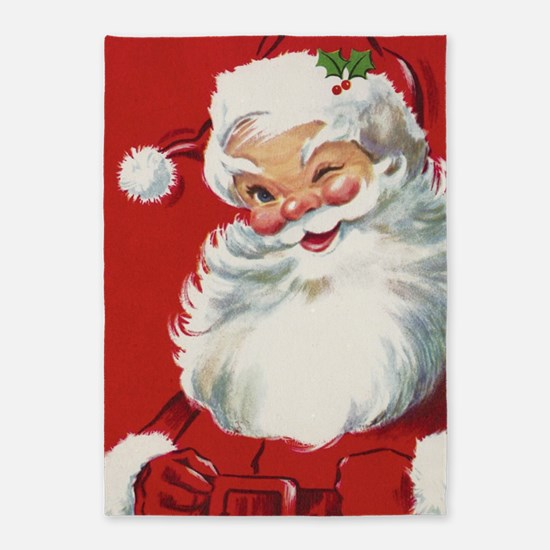 Vintage Christmas Jolly Santa Claus 5'x7'Area Rug