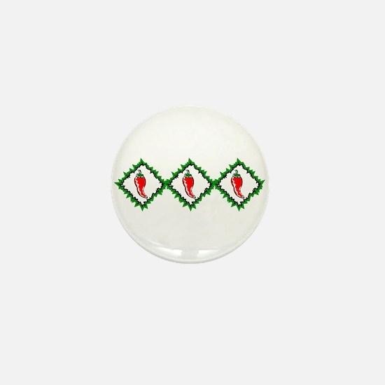 Three chili peppers diamonds graphic Mini Button