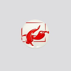 Stylized two red w frame peppers Mini Button