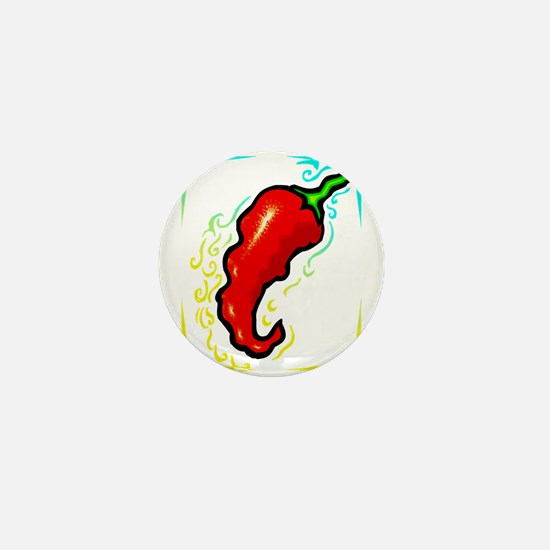 Jagged red pepper yellow blue frame Mini Button