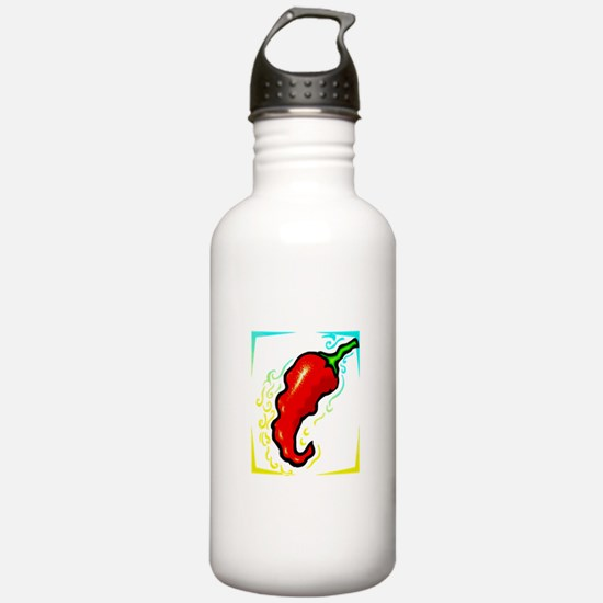 Jagged red pepper yellow blue frame Water Bottle