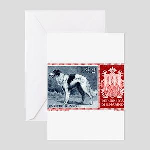 Vintage 1956 San Marino Borzoi Dog Postage Stamp G